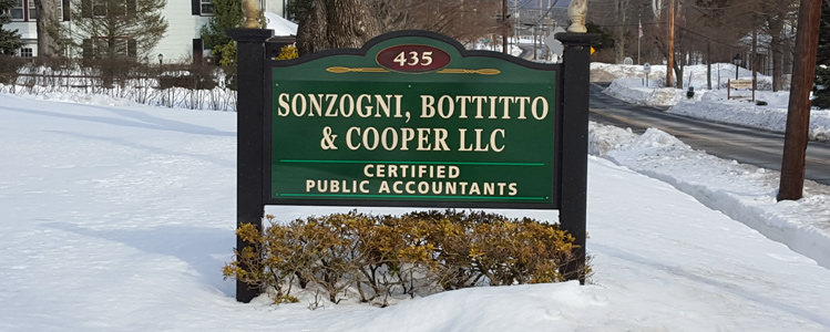 Sign in front of Sonzogni, Bottitto & Cooper, CPA's, Bedminster, NJ